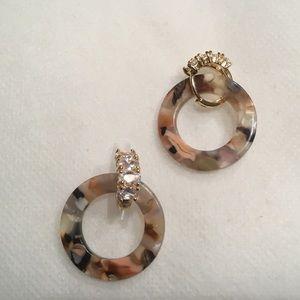 Oval Glass Stone Huggie with Acetate Hoop Earrings